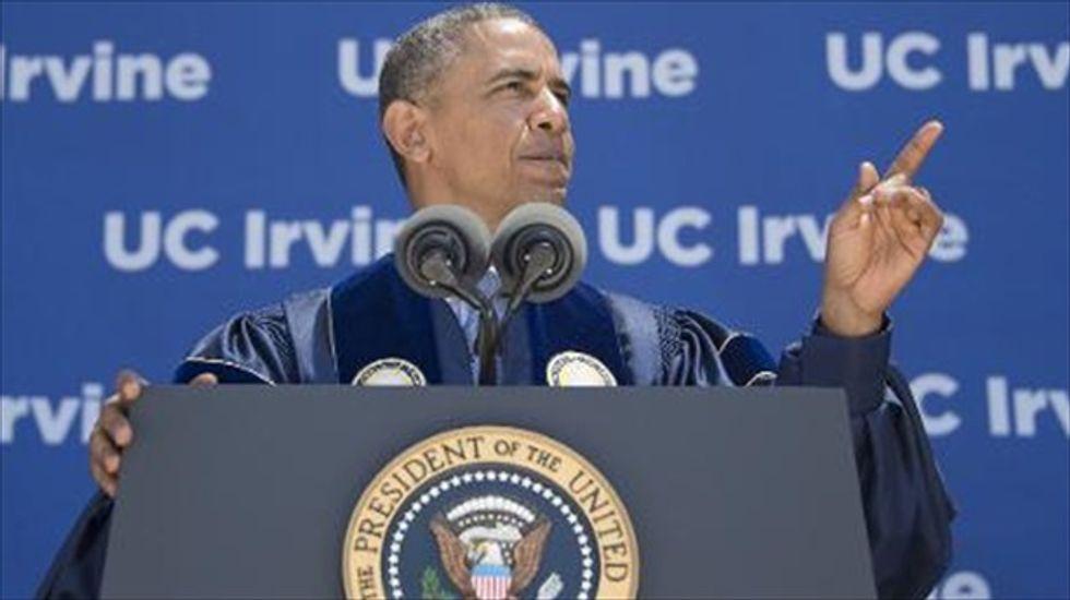 Obama blasts climate change deniers in speech to UC Irvine graduates