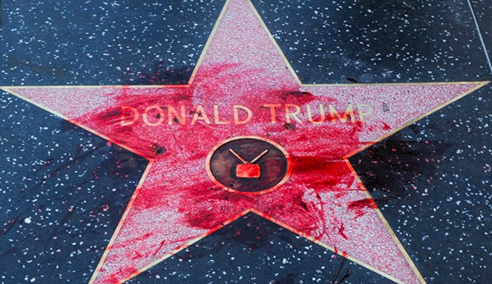 PETA employee claims he was fired for pouring fake blood on Trump's Hollywood star