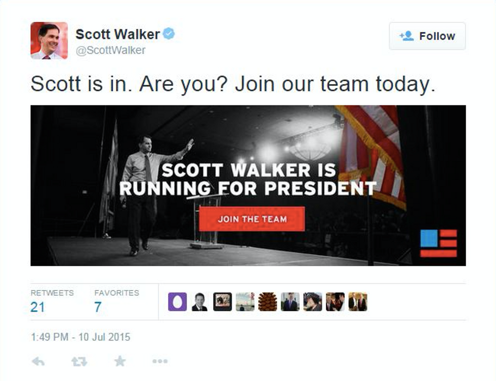 Scott Walker announces 2016 candidacy on Twitter at 5pm on a summer Friday -- was it an accident?
