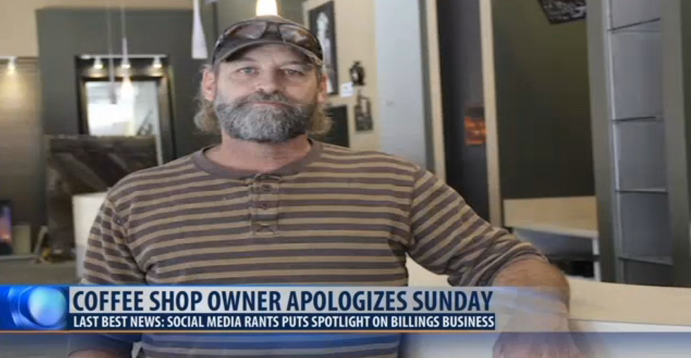 Trump-loving coffee shop owner insists he is not racist after threatening to hang black 'monkeys'