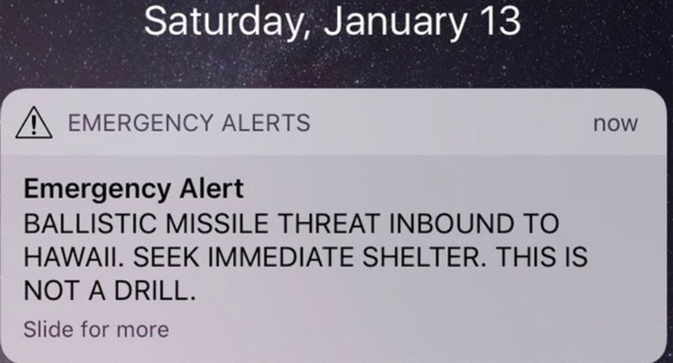 Hawaii officials freak out populace by sending out mistaken 'inbound ballistic missile warning' to cell phones