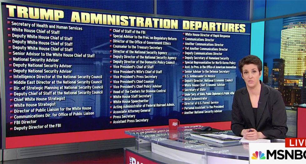 'We're gonna need a bigger wall': Maddow mocks Trump dumping McMaster and filling up her massive list of departures
