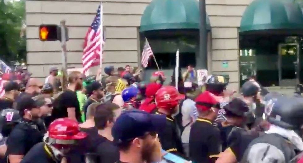 Alt-right rally in Portland declared a riot after right-wingers go on violent rampage