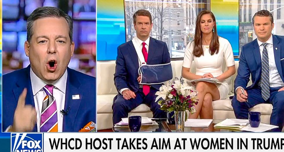 'You're going to lose your voice': Fox hosts try to calm Ed Henry after he loses it over comedian Michelle Wolf