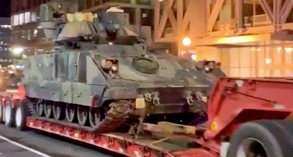 WATCH: Army tanks rolling through the streets of Washington, DC