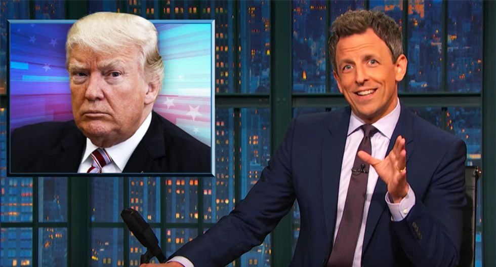 Watch Seth Meyers hilariously mock Trump's paranoia over being taped