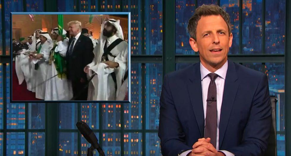 'Like watching grandpa do the Electric Slide at a wedding': Seth Meyers mocks Trump's klutzy Saudi sword dance