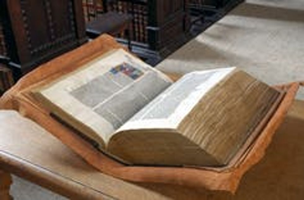 The Great Bible on display at a library.