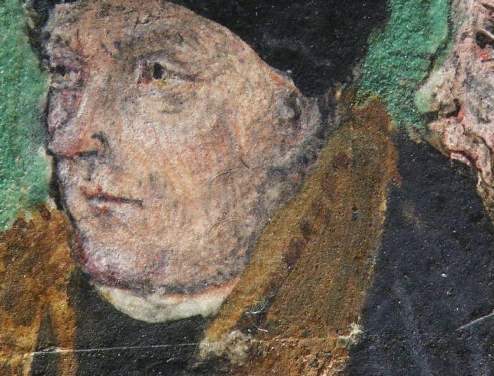 Close up of Thomas Cromwell image on Great Bible