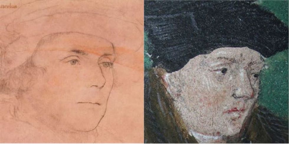A comparison of a portrait of Richard Rich with a close up image in the Bible.