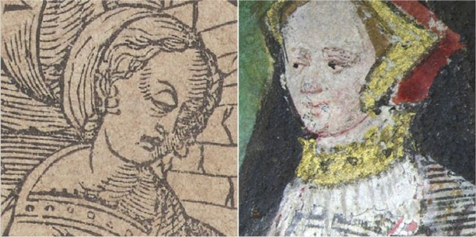 Black and white and colour Jane Seymour image side by side