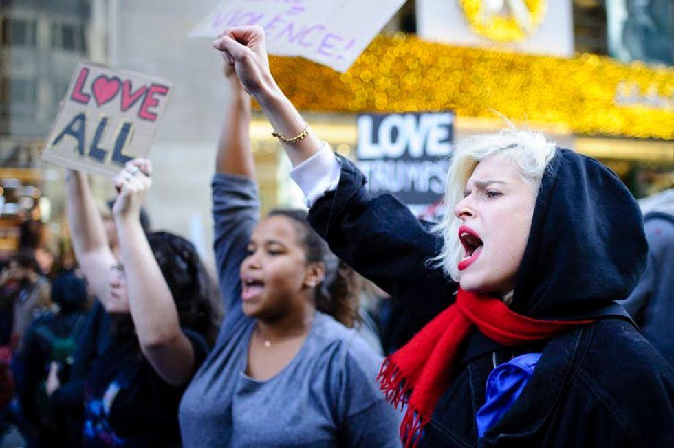 Women protesting Trump's 2016 election.