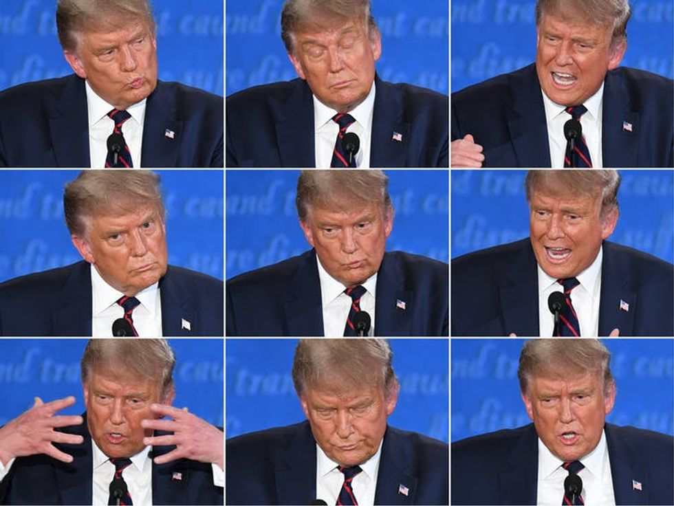 Nine photos of President Trump during the first presidential debate.