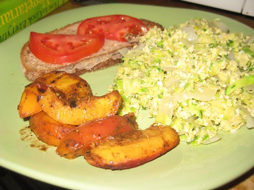 Nectarines, eggs, toast