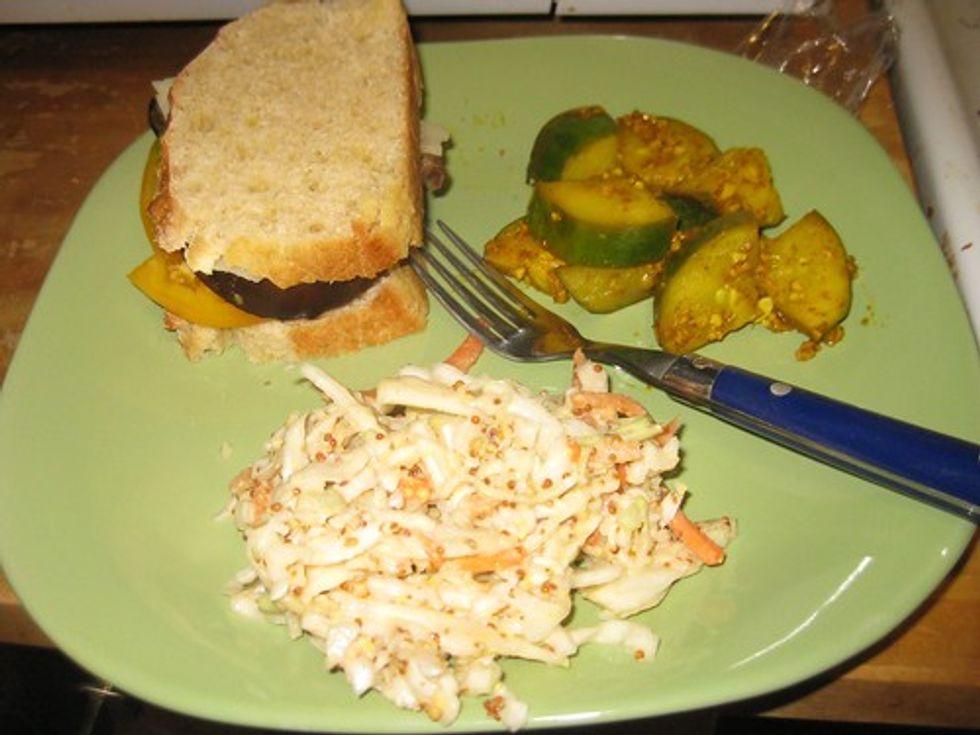 Eggplant sandwich, coleslaw, cucumbers