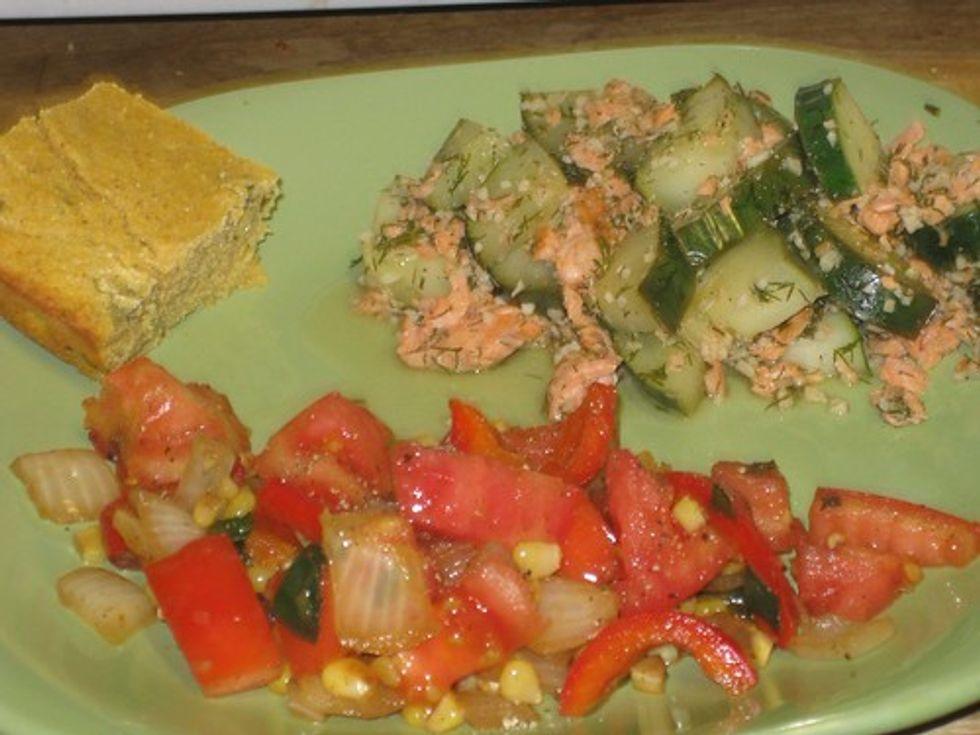 Cornbread, cucumber & salmon, corn salad