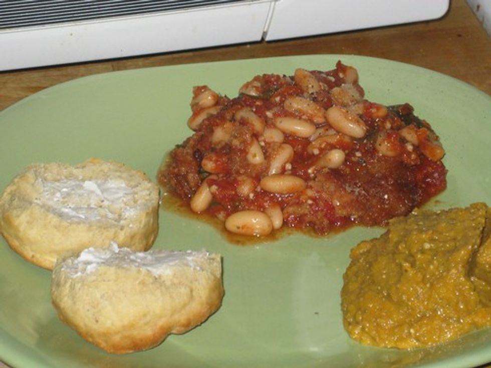 Biscuit, butternut squash, white bean gratin