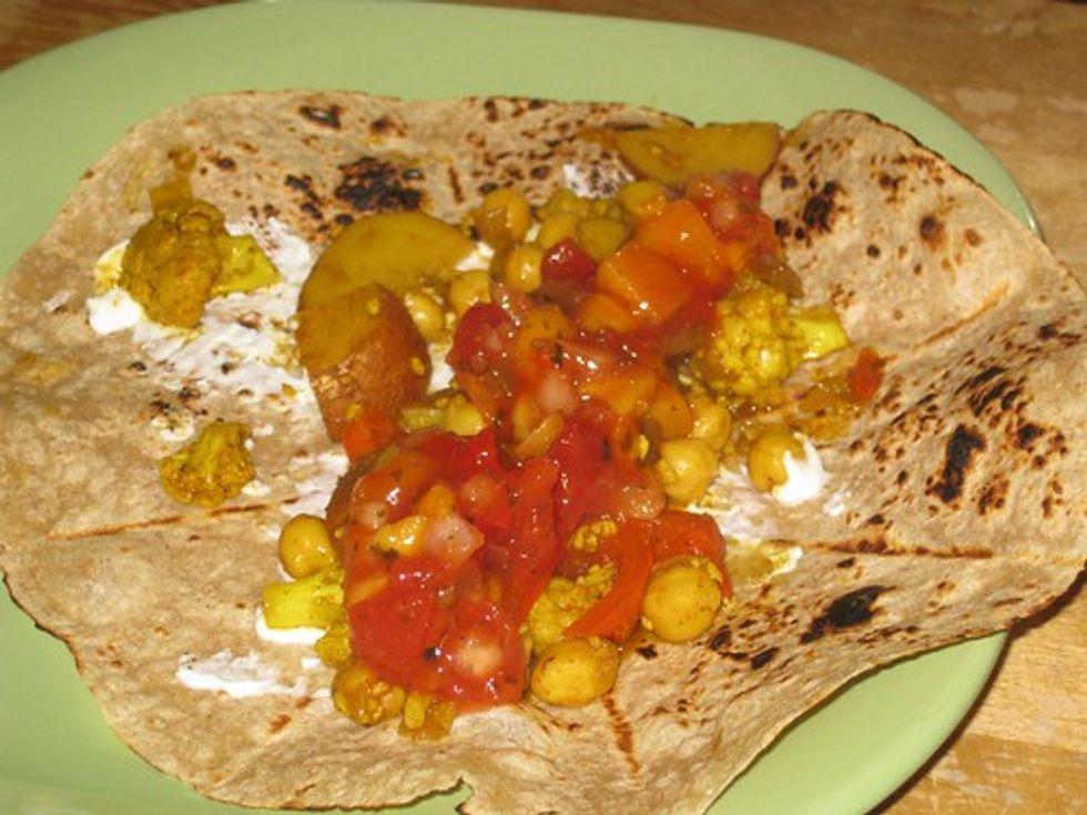 Chickpea & cauliflower wrap