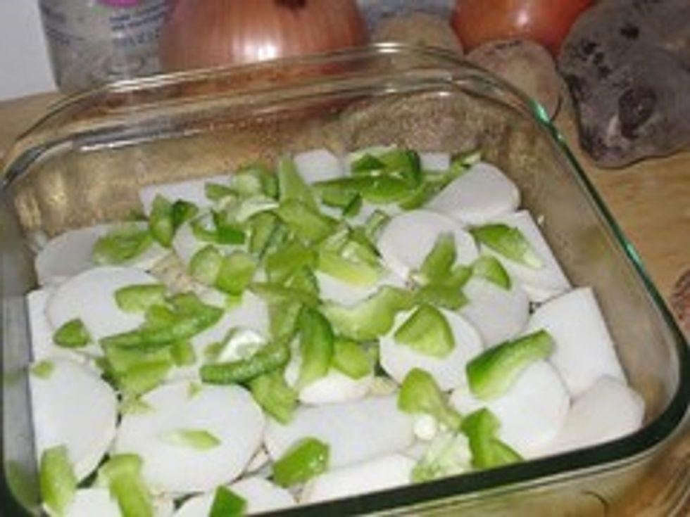 Assembling turnip gratin