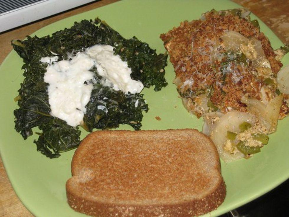 Turnip gratin, greens, bread