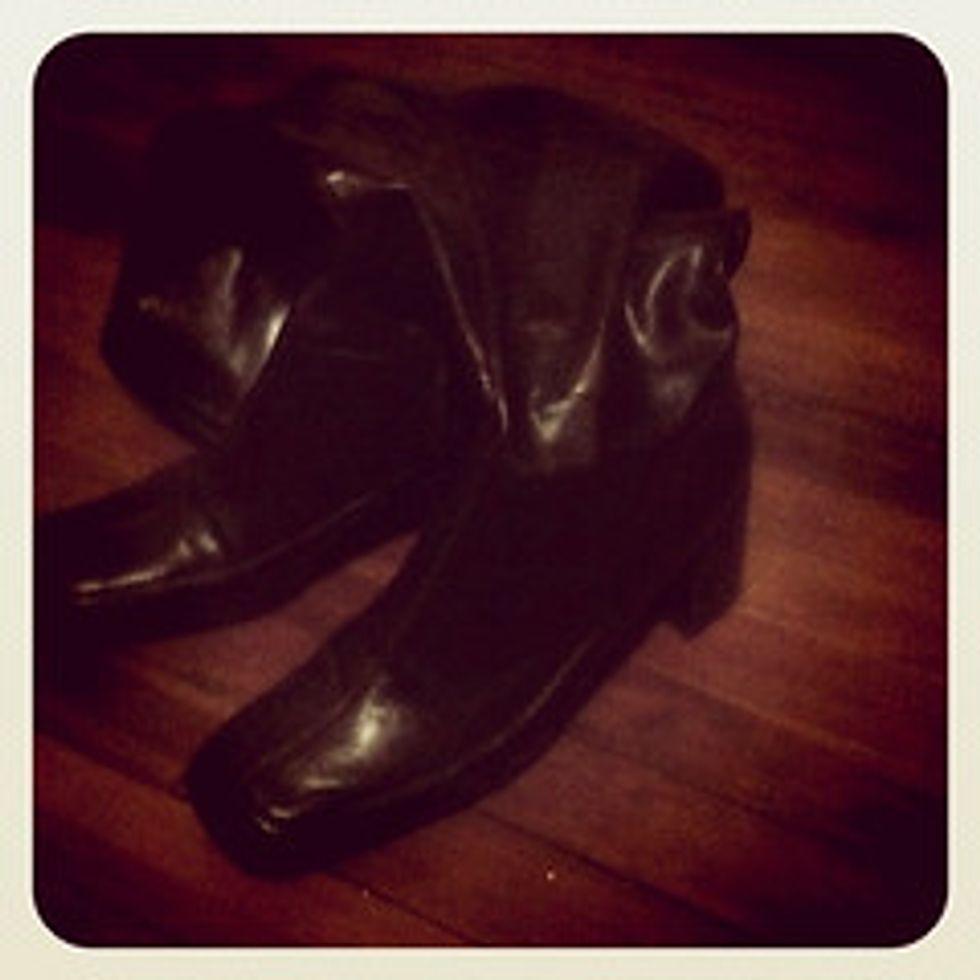 Brown knee high heels