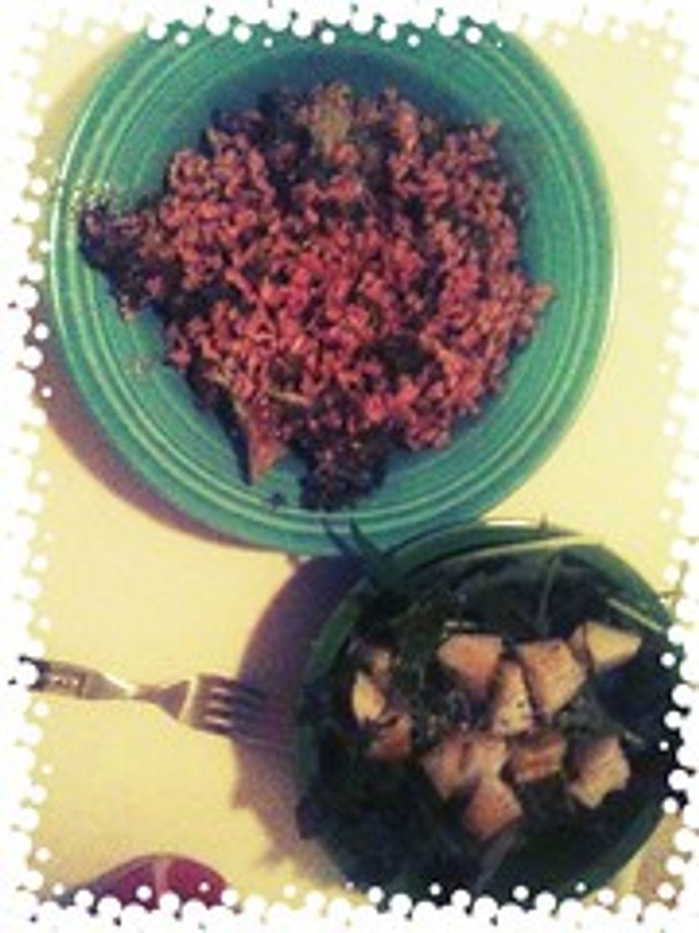 Roasted broccoli w/ farro, pear salad