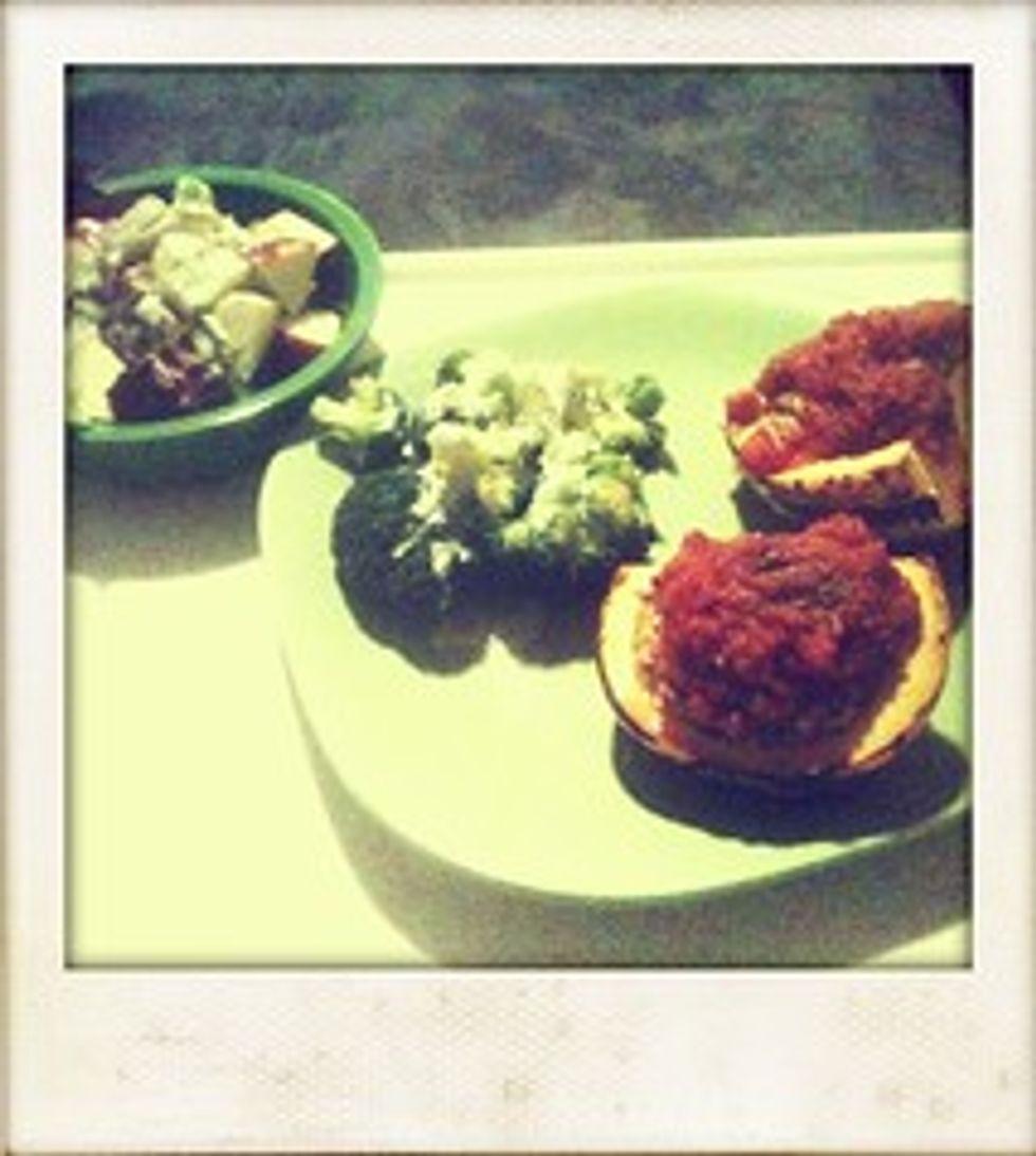 Stuffed squash, broccoli, salad