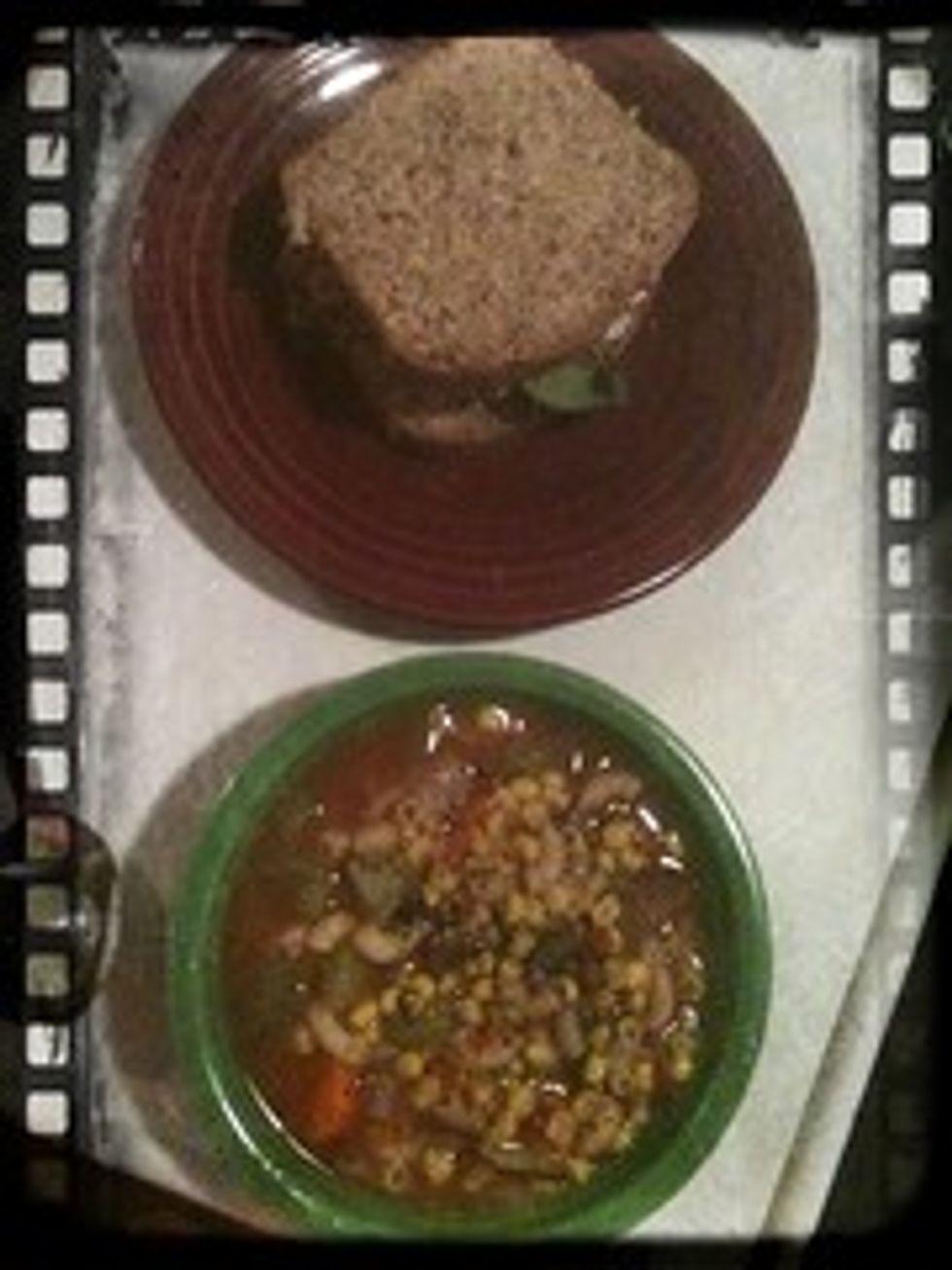 Sandwich and lentil soup