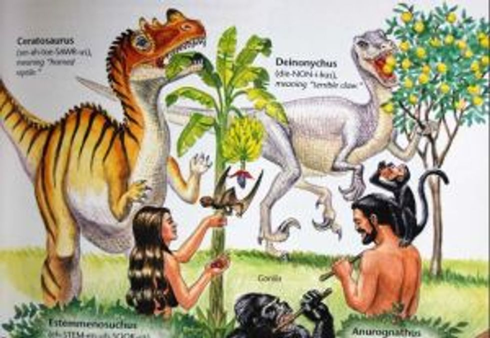 Dinosaur with Adam and Eve