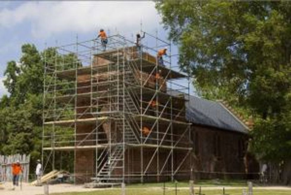 scaffolding on church