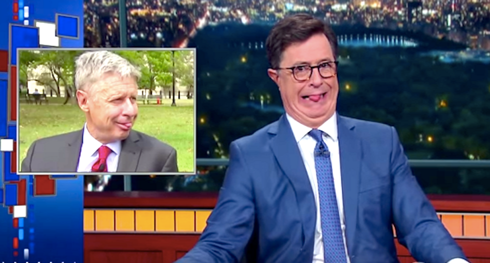 Stephen Colbert's mocks 'aging clown without makeup' Gary Johnson and his nutty policies