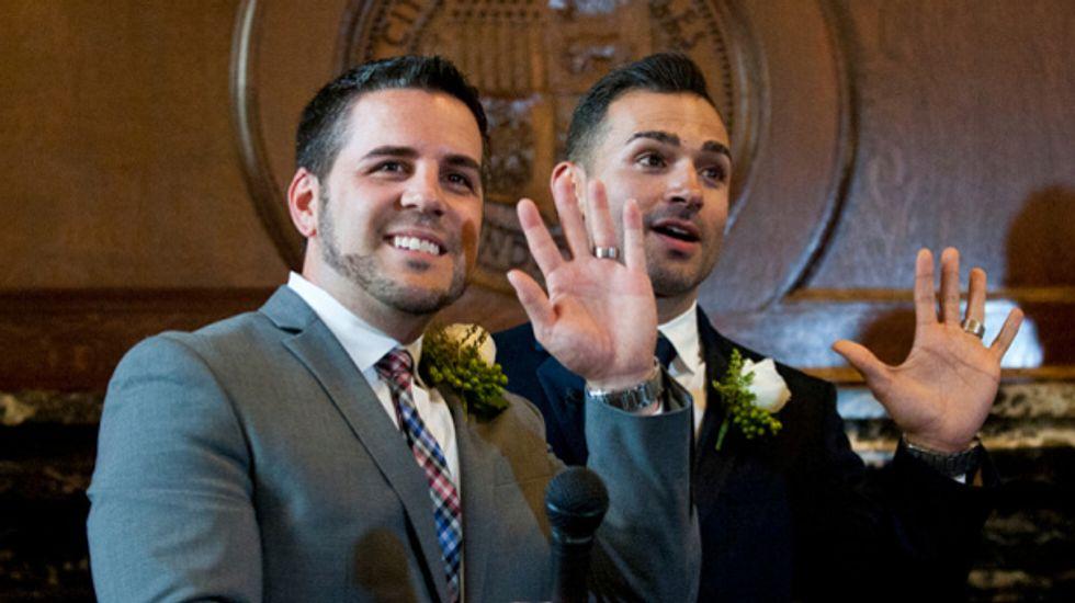 Plaintiffs in historic same-sex marriage case celebrated at lavish ceremony