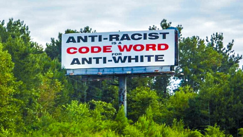 Racist AL billboard features 'white genocide Mantra' that inspired dozens of killings