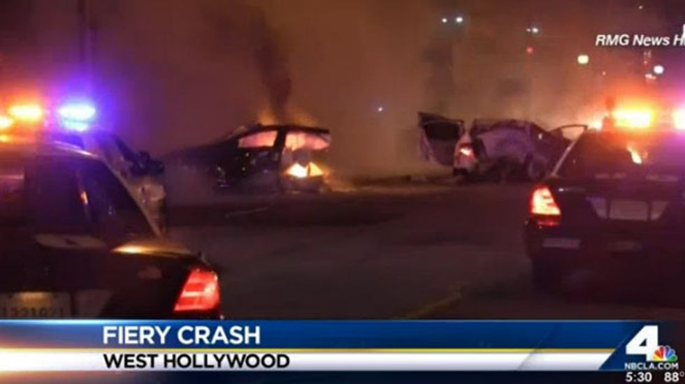 Stolen Tesla ripped in half after high-speed pursuit in Los Angeles ends in fiery crash