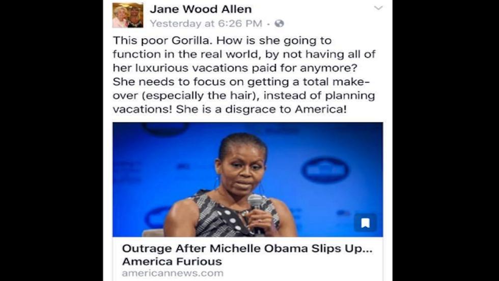 Georgia teacher fired for shockingly racist Facebook post calling Michelle Obama a 'gorilla'