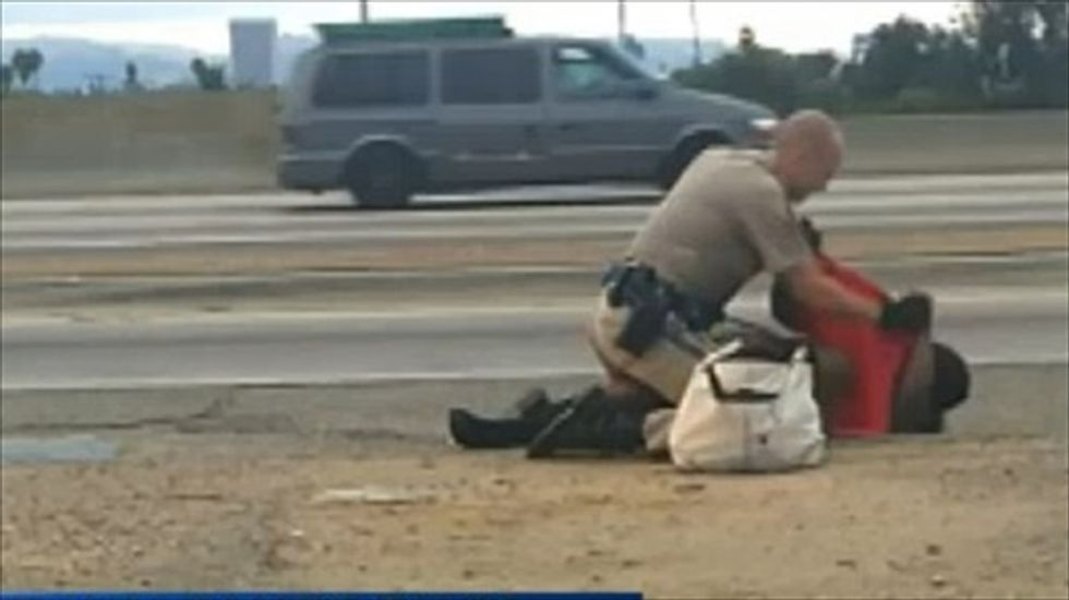 'She was screaming': Calif. Highway Patrol officer caught on video pummeling woman