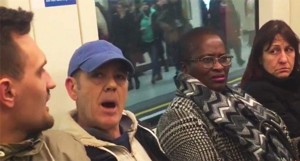 'You foreign c**t, it's my country': Watch racist man harass train passengers with a flood of profanities