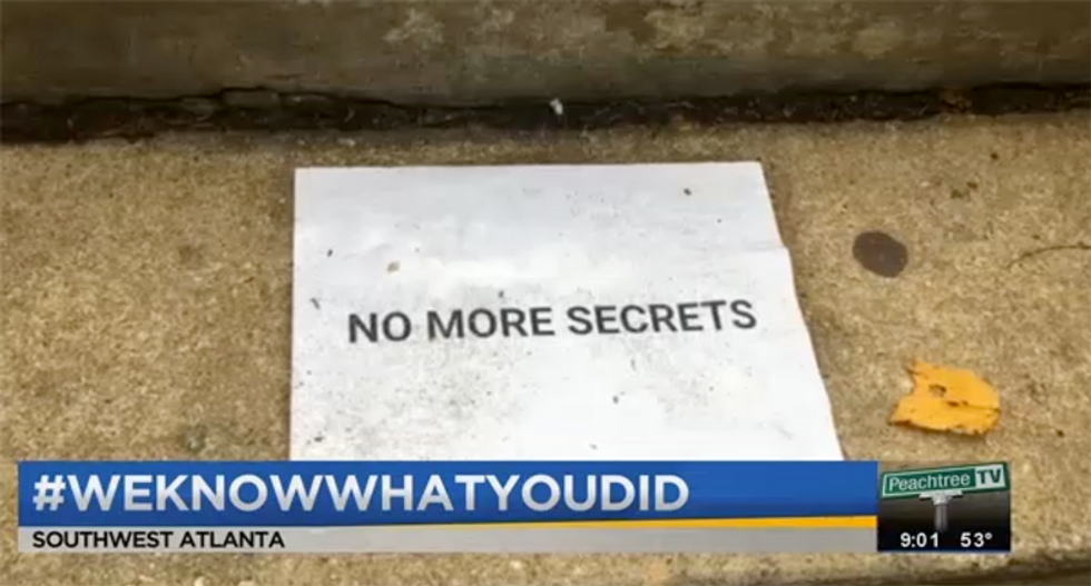 Campuses blanketed with 'No more secrets' signs warning rapists that women will not stay silent