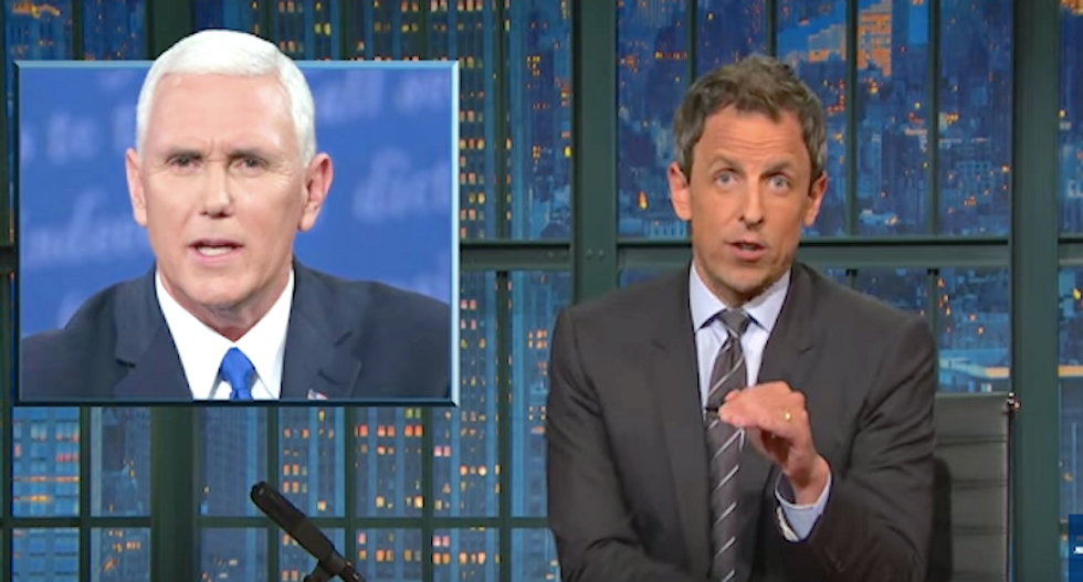 Seth Meyers rips Mike Pence's 'alternative universe' -- where Trump isn't an unhinged 'man-child'