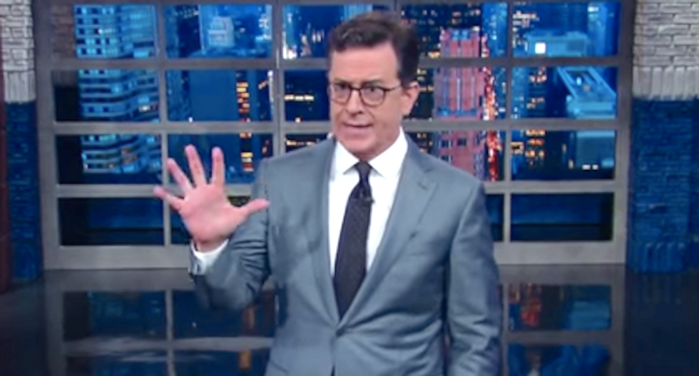 Stephen Colbert needles insecure Trump by praising Pence: 'Did you see the size of his hands?'