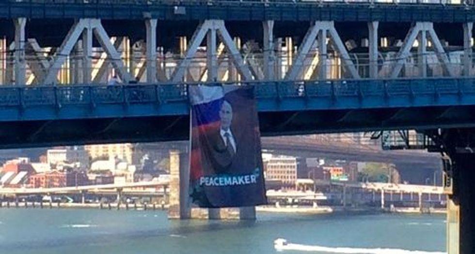 Banner of Russia's Putin hung from Manhattan Bridge