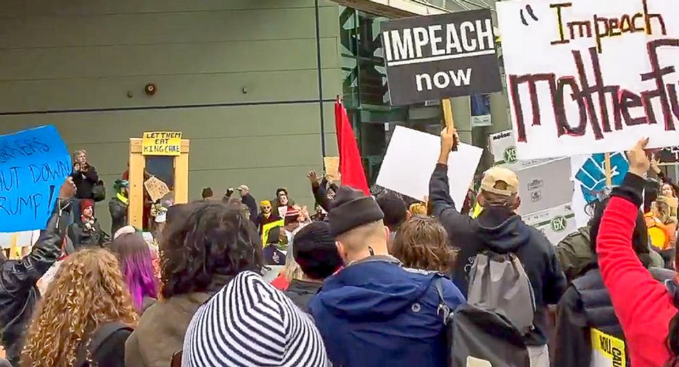WATCH: Protesters chant 'lock him up' as Trump speaks at New Orleans Convention Center