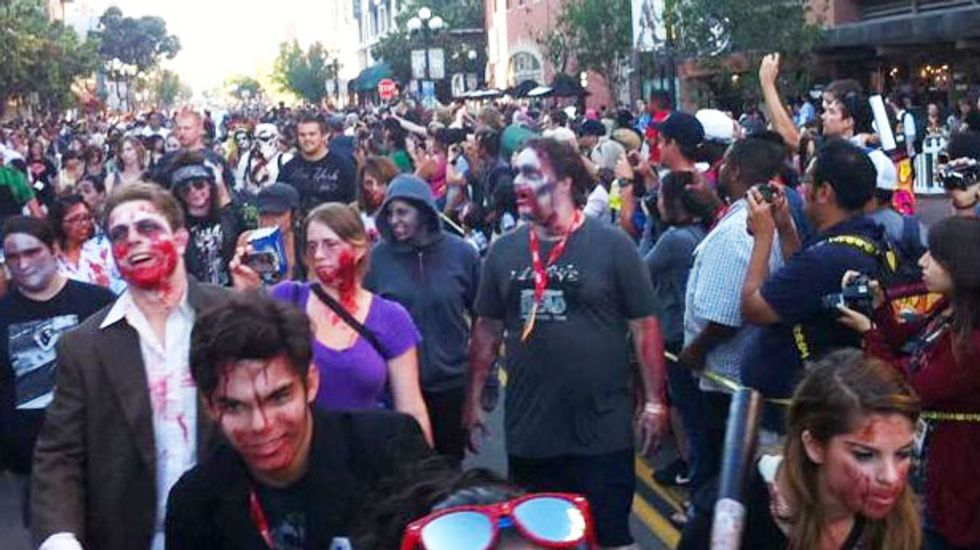 Frightened driver plows through crowd at SD Comic Con 'Zombie Walk' injuring three