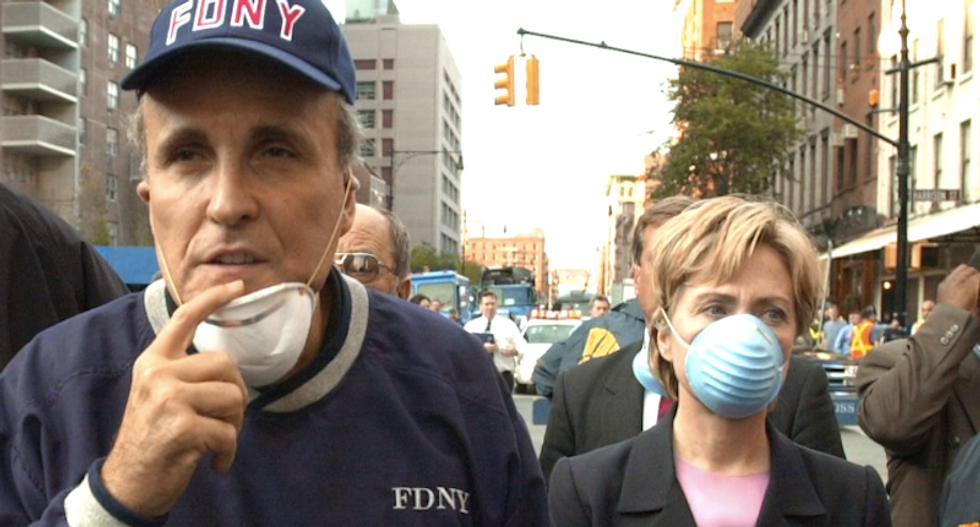 BUSTED: Rudy Giuliani says he never saw Hillary Clinton in NYC after 9/11 — but pictures prove he's lying