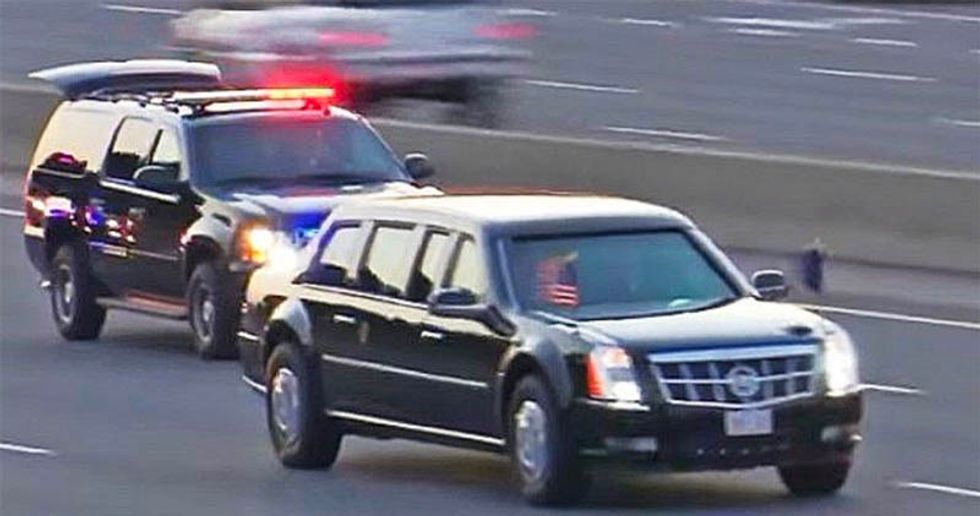 Driver of van slated to join Trump motorcade detained for having a gun