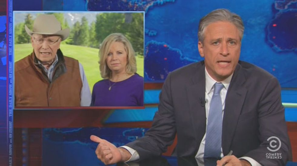 Jon Stewart mocks 'America's Tragedy Herpe' Dick Cheney and his 'Sith apprentice' daughter