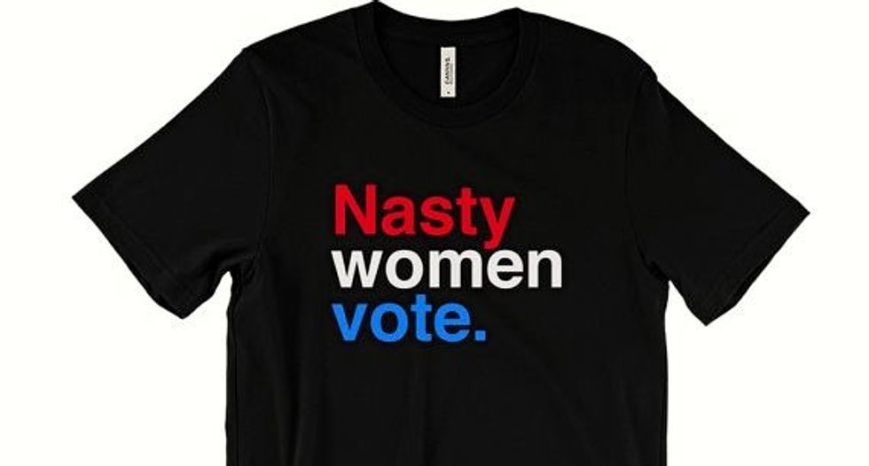 US battle of election T-shirts, 'Nasty Woman' rules