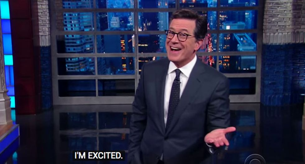Stephen Colbert pitches exciting new shows for proposed TrumpTV -- if it 'hasn't gone bankrupt already'