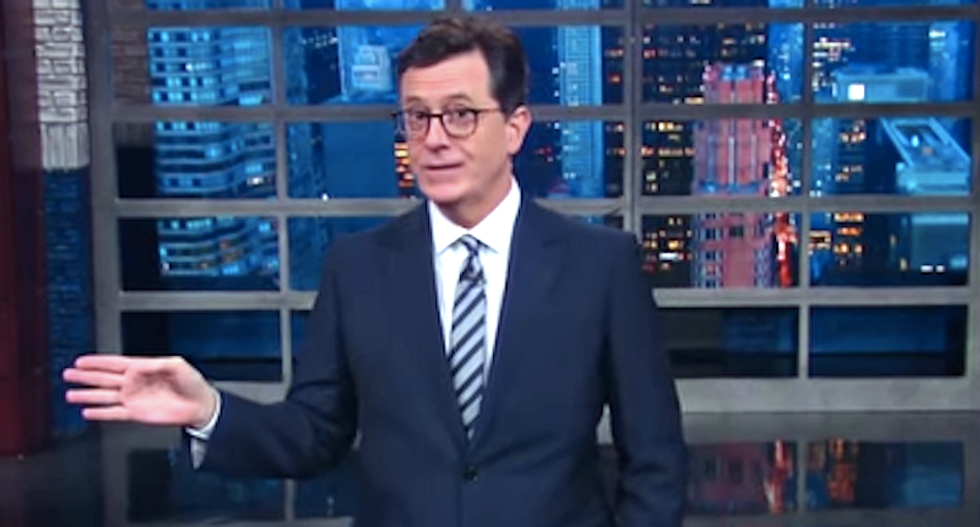 'His hair is a decomposing prairie dog': Colbert relates to first-graders 'nervous' about Trump