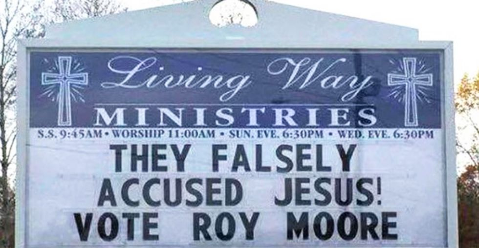 Alabama church under fire for 'They falsely accused Jesus. Vote Roy Moore' sign